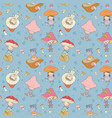 pattern with cute cartoon gnomes mushrooms forest vector image vector image