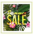 sale summer banner poster with palm leaves vector image vector image