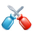 screwdrivers crossed tools icon vector image vector image