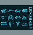 set construction machinery glowing neon icons vector image