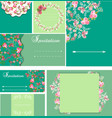 set of beautiful templates for wedding cards vector image