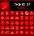 shopping cart icon set 8 white line icon on red vector image vector image