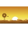 Silhouette of windmill at the sunset vector image vector image