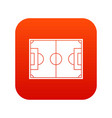 soccer field icon digital red vector image vector image