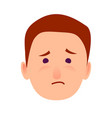 sorrowful face emotion on man-child close-up icon vector image vector image