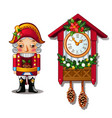 the nutcracker and the antique cuckoo clock vector image