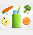 vegan green smoothie concept background cartoon vector image