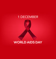 world aids day aids awareness aids red ribbon w vector image vector image