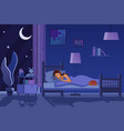 young tired woman sleeping in bed covered with vector image