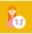 character girl pet french bulldog graphic vector image