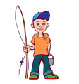 little boy was going to fish summer active vector image