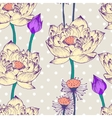 Seamless pattern with lotus flower and dots vector image