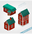 3d isometric houses vector image
