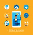 46 businessman make video call global business vector image vector image