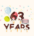 63 years happy birthday card vector image vector image