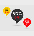 90 off 50 off black friday sale black tag vector image vector image
