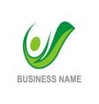 active people green organic logo vector image vector image