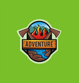 adventure logo with ax and nature image elements vector image