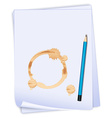 An empty paper with a stain and a blue pencil vector image vector image