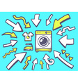 arrows point to icon of washing machine o vector image vector image