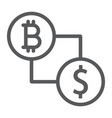 bitcoin vs dollar line icon finance and money vector image vector image