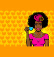 black afro woman pop art drink tea vector image