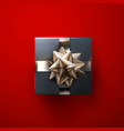 black gift box with shiny silver bow and ribbons vector image