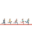 business people run to finish line team leader vector image vector image