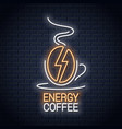 coffee bean neon sign coffee energy neon concept vector image vector image