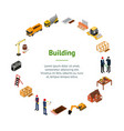 construction building concept banner card circle vector image vector image
