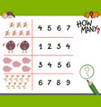 counting game with farm animals vector image vector image