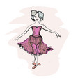 cute little ballerina doodle nursery vector image vector image