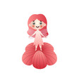 cute red hair fairy girl with dotted dress vector image vector image