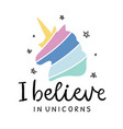 cute unicorn hand lettering poster vector image