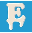 E letter isolated on baby blue background vector image