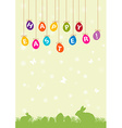 Easter hanging egg background vector image