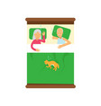 elderly family couple sleeping on the bed with vector image