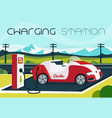electric car charging station vector image