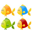 fish in four different colors vector image vector image