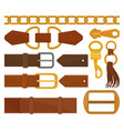flat set of different belt elements trendy vector image