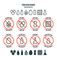 Food intolerance icons and labels set vector image