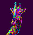giraffe abstract colorful artistic portrait vector image vector image