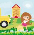 girl going to school vector image