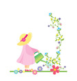 girl watering flowers in the garden vector vector image vector image