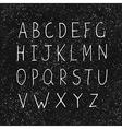 hand drawn alphabet on black texture vector image vector image