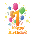 Happy birthday 1 year vector image vector image