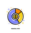 icon of multicolor pie chart with golden dollar vector image