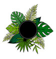jungle poster with black frametropical plants vector image
