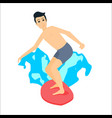 man surfer riding on surfboard vector image vector image