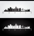 mobile alabama skyline and landmarks silhouette vector image vector image